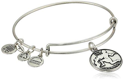 Alex and Ani Rafaelian Silver-Tone Aquarius II Expandable Wire Bangle Bracelet,7.25