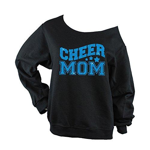 Bella Designs Activewear Cheer Mom Sweatshirt (Choose Your Glitter Color) Off Shoulder - 562 Black - BD947 (3X Large, Aqua Glitter)