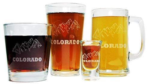 Colorado Mountains Beer Mug, Beer Pint, Hi-Ball Rocks and Shot Glass ULTIMATE Gift Set - 15oz Engraved Beer Mug, 16oz Pint, 13oz Rocks and 1 oz Shot Glass-Permanently Etched