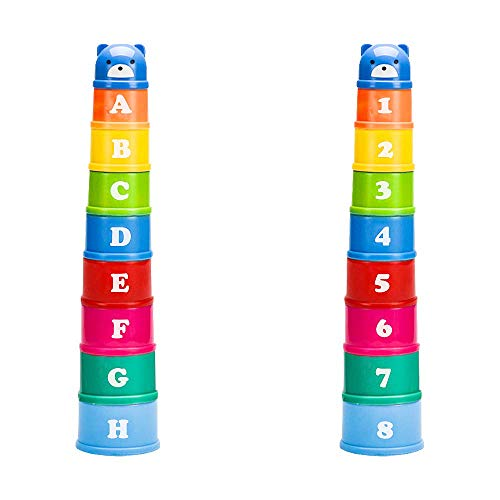 elecnewell Stacking Cups Baby Building Set Nesting Cups Early Educational Toddlers Toy 9 Pieces with Numbers Animal Characters Rainbow Multi Color for Kids Baby Play for Indoor/Outdoor/Bathtub/Beach