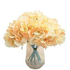cn-Knight Artificial Flower 9pcs Silk Hydrangea Fake Flower Arrangement Hortensia Blossom for for Wedding Bridal Bouquet Bridesmaid Home Décor Office Baby Shower Centerpiece,in 3 Bundles(Champagne) 51