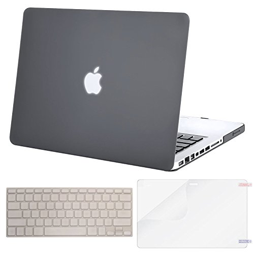 MOSISO Plastic Hard Shell Case & Keyboard Cover & Screen Protector Only Compatible Old MacBook Pro 13 Inch (A1278 CD-ROM), Release Early 2012/2011/2010/2009/2008, Gray
