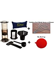 Aeropress Coffee and Espresso Maker With Tote and Bonus Drink Straws & The Red Cap