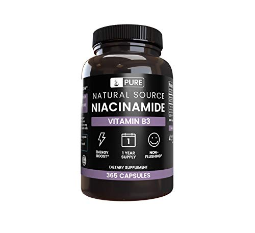 Pure Niacinamide (Vitamin B3) |1-Year Supply |365 Capsules |No Magnesium Filler, Gluten-Free, Vegetarian, No Flush, Made in The USA, 425mg Natural & Undiluted Niacinamide (Vitamin B3) ()