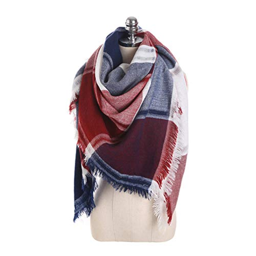 Chic-Dona Fashion Pattern Winter Women Square Scarf Luxury Fight Color Plaid Cashmere Tassel Scarves Shawl Red Wine by Chic-Dona
