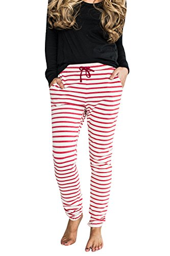 Ermonn Women Juniors Casual Stripe Tie Waist Jogger Leggings Harem (Striped Pajama Pants)