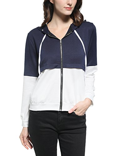 Terry Hoodie - Blooming Jelly Women's Casual Color Block Sport French Terry Zip up Hoodie Sweashirt Jacket(M)
