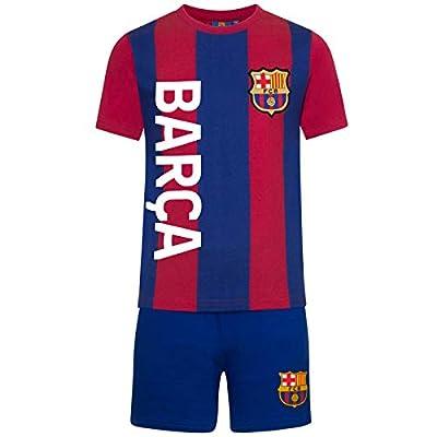 FC Barcelona Official Football Gift Boys Striped Kit Short Pajamas
