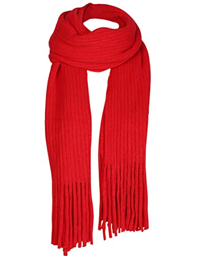 Women Men Winter Thick Cable Knit Wrap Chunky Warm Scarf All Colors Fringe Red ()