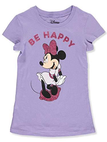 (Disney Girls T-Shirt Minnie Mouse Glitter Graphic Print (Light Purple, Small))