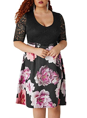 Midi Size Women's Queen Black Floral Cocktail Lace Patchwork Empire Half Plus Waist Lace Alaster Sleeve Dress Dress OqwFY5Y