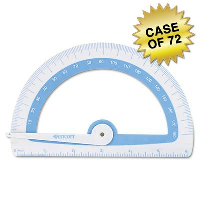 Westcott Soft Touch School Protractor With Anti-microbial Protection, Assorted Colors, Case of 72 by Westcott