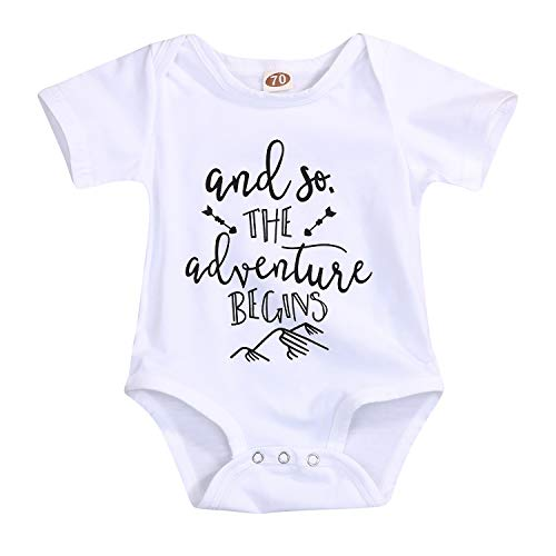 YOUNGER TREE Newborn Baby Boys Girls Summer Romper Bodysuit Jumpsuit Cotton Funny T-Shirts Playsuit Outfit Clothes (12-18 Months, Adventure Begins)]()