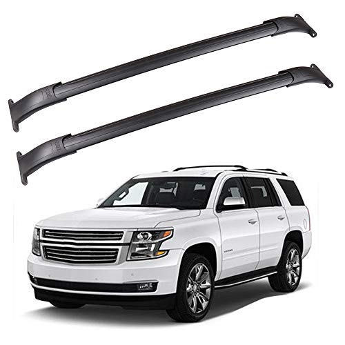 ROADFAR Roof Rack Aluminum Top Rail Carries Luggage Carrier Fit for 2015 2016 2017 2018 GMC Yukon/Chevrolet Tahoe/Chevrolet Suburban/Cadillac Escalade Baggage Rail Crossbars ()