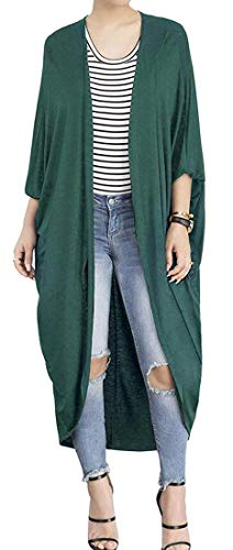 Wing Makita - Ting room Oberora Womens Bat-Wing Sleeve Open Front Cardigan Solid Shawl Trench Coat Green S