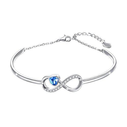 Ladytree S925 Sterling Silver Infinity Endless Love Bangle Blue Cubic Zirconia Charm Adjustable Bracelets, for Women Girls