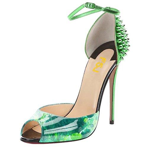 Fsj Correa De Tobillo De Las Mujeres De Orsay, Zapatos De Tacón Alto De Aguja Peep Toe De La Bomba Con El Tamaño De Los Remaches 4-15 Nos Verde Multi