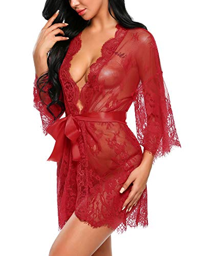 (Avidlove Wedding Lingerie for Bride Women's Lace Kimono Robe Babydoll Lingerie Mesh Nightgown Dark Red XXL)