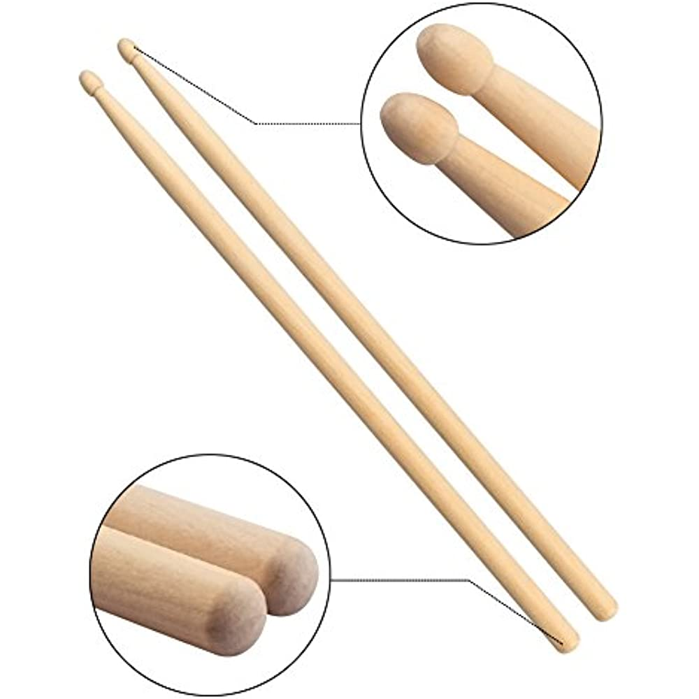 2 Pair 5A Maple Wood Tip Drumsticks Sets and 1 Pair Drum Brushes Retractable Drum Sticks Brush with 1 Storage Bag