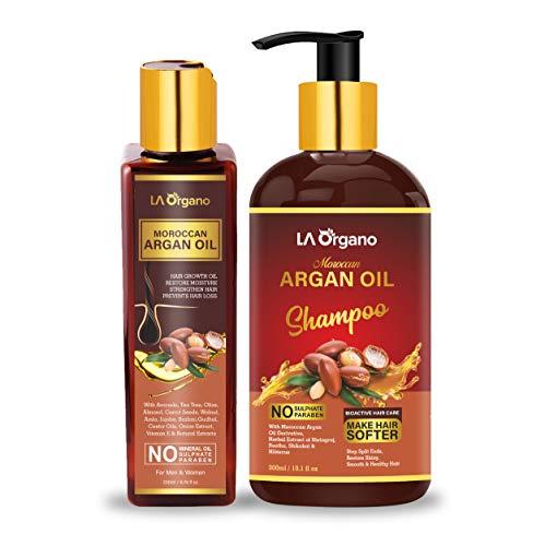 LA Organo Moroccan Argan Hair Oil, 200ml & Shampoo, 300ml Perfect Hair Care Combo For Men & Women