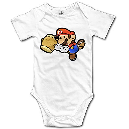 Babys Boy's & Girl's Custom Super Mario Baby Climbing Clothes White Size 6 M]()