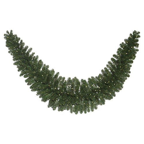 Vickerman C164921LED Fir Swag Garland with 286 PVC Tips & 150 Single Mold LED Wide Angle Lights, 9', Warm White/Oregon by Vickerman (Image #1)