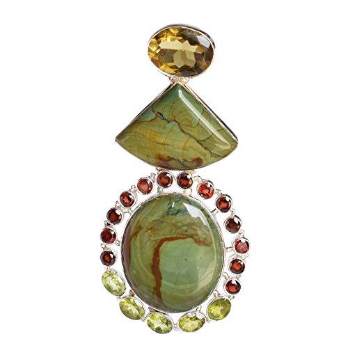(Ravishing Impressions Genuine Wild Horse Jasper Peridot,Garnet & Citrine Gemstone 925 Solid Sterling Silver Pendant FSJ-439)