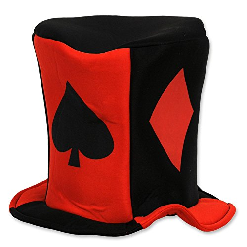 Club Pack of 12 Red and Black Casino Night Card ''Suit'' Fabric Costume Party Hats by Party Central