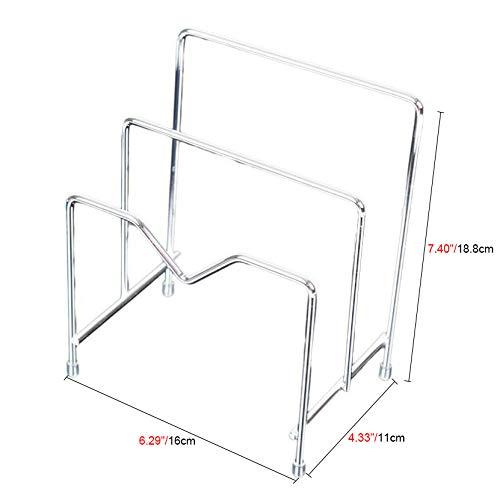 Homebetter 3-Layer Stainless Steel Space-Saving Kitchen Cabinet Steel Pot Lids 7.40''x6.29''x4.33''Cutting Board Holder Storage Rack Pan Skillet Storage