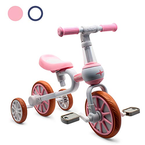 XIAPIA 3 in 1 Kids Tricycles Gift for 1-4 Years Old Boys Girls with Detachable Pedal and Training Wheels,Baby Balance Bike Trikes Riding Toys for Toddler(Adjustable Seat)