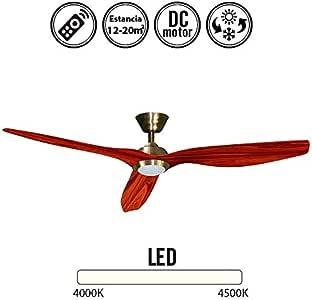 Ventilador de techo con luz Led DELFOS cuero/cerezo: Amazon.es: Hogar