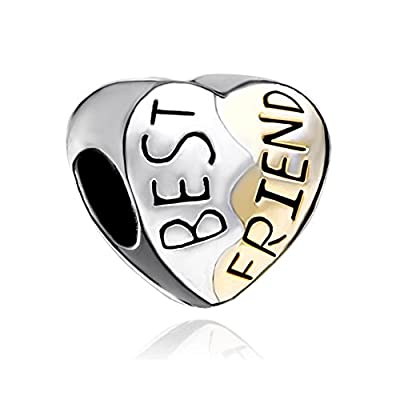 Discount Third Time Charm Best Friend Heart BFF Charm Beads Fit European Charm Bracelets for cheap