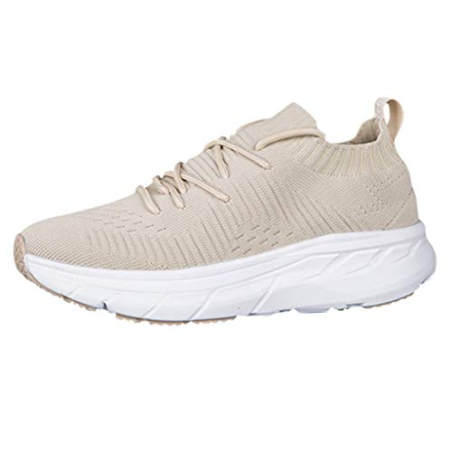 Vickyleb Sneakers for Women,Women Walking Shoes Comfortable Lightweight Work Casual Workout Shoes for Indoor Outdoor Gym Travel Beige (Furniture Cushions Waterproof Outdoor For Uk)