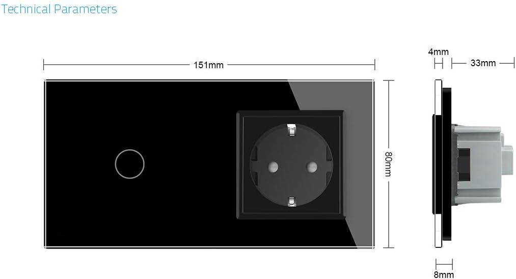 Interruptor t/áctil de luz y enchufe con marco de cristal VL-C701//C7C1EU-12-A Livolo color negro