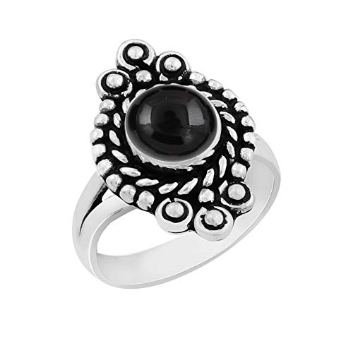 Genuine Round Shape Black Onyx Solitaire Ring 925 Silver Plated Vintage Style Handmade for Women Girls (Size-9)