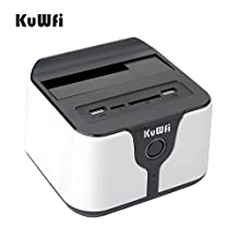"""KuWFi 2.5""""/3.5"""" USB 3.0 to sata all-in-1 Wireless Hdd Docking station for 2.5"""" &3.5"""" SATA hard disk USB3.0Wifi HDD Enclosure docking station Support AP Wi-Fi bridge(Hard disk not included) Black Color"""