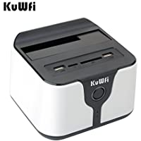KuWFi USB 3.0 to Sata all-in-1 Wireless Hdd Docking station for 2.5 &3.5 SATA hard disk USB3.0Wifi HDD Enclosure docking station Support AP Wi-Fi bridge(Hard disk not included) White Color