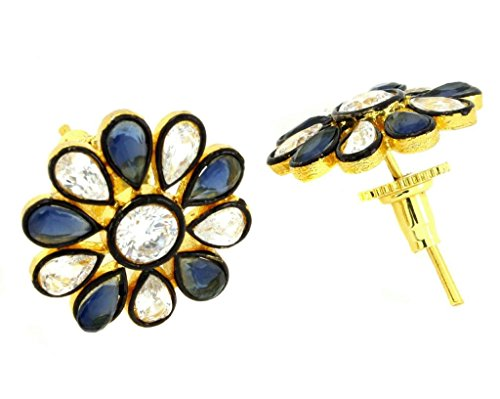 the-jewelbox-7-stone-flower-kundan-polki-cz-sapphire-blue-gold-plated-stud-earring-for-women