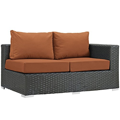 (Modway EEI-1857-CHC-TUS Sojourn Wicker Rattan Outdoor Patio Coffee Table, Right Arm Loveseat, Tuscan Orange)