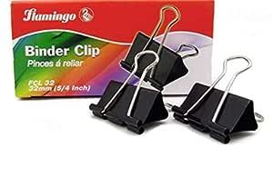 Black Binder Clip 32mm (5/4 inch) - 12 Boxes/Carton, 12 pcs/Box