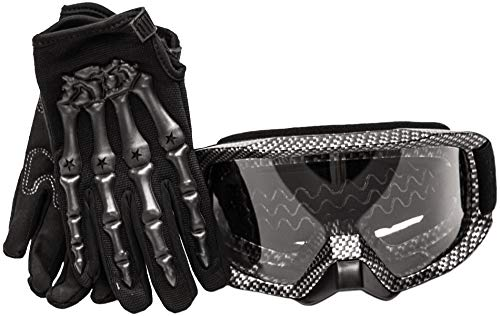 Typhoon Youth Glove & Goggle Combo Motocross Offroad ATV MX Dirt Bike - Carbon Fiber - Large