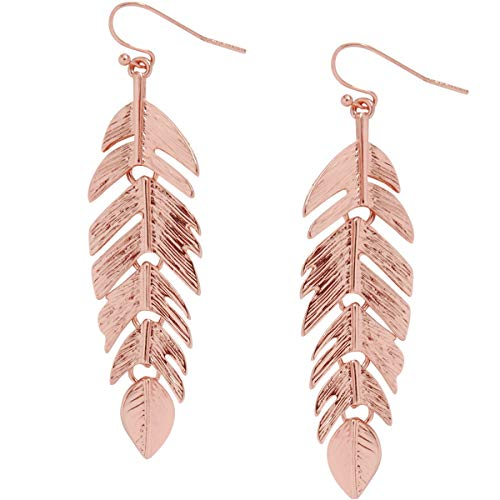 - Humble Chic Floating Feathers Dangle Earrings - Long Hanging Metal Link Leaf Drops, Rose Gold-Tone, Pink