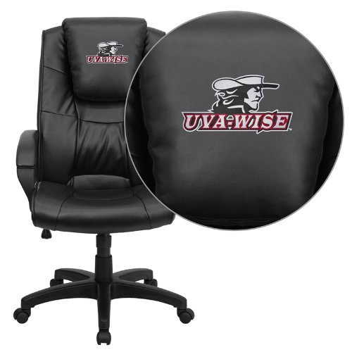 Flash Furniture Virginia College at Wise Highland Cavaliers Embroidered Black Leather Executive Office Chair ()