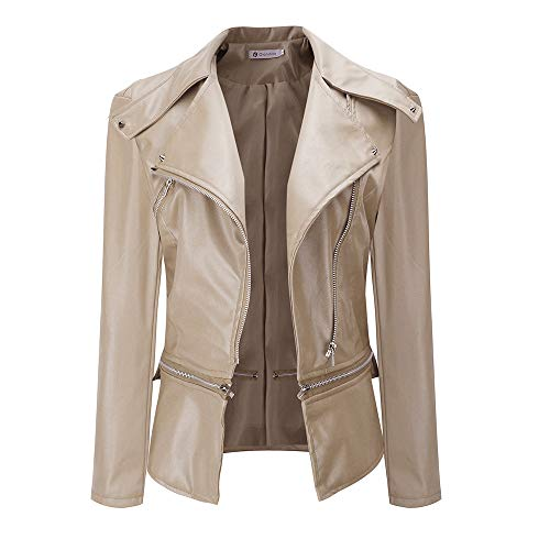 Ninasill Clearance!Women Lapel Coat Leather Jacket Parka Overcoat Outwear(Beige,Asian XXL = US ()
