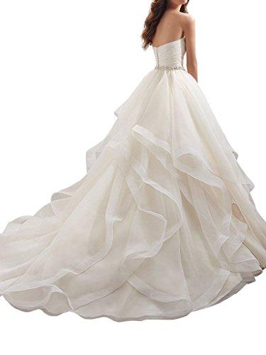 APXPF Women's Organza Ruffles Ball Gown Wedding Dresses Bride Dress White US2 by APXPF (Image #1)