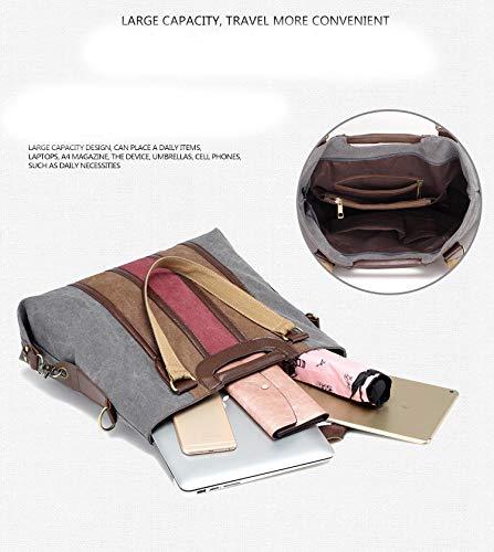 portable Mode main en capacité Gray rayé couleur sacs épaule Fanwer m toile grande casual dames sac à HTPwq