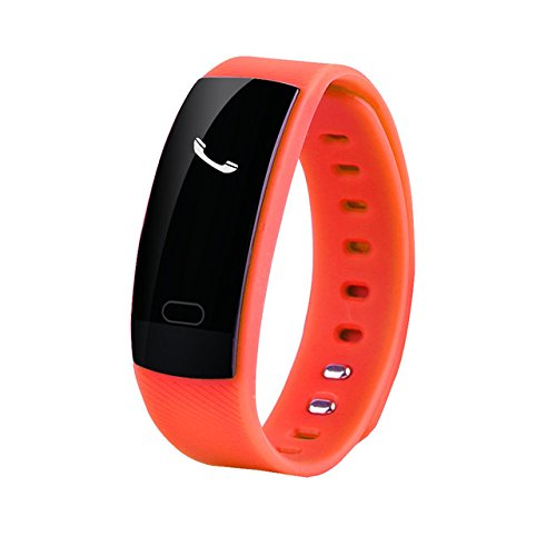 QS80 Bluetooth Smart Band Bracelet Wristband Sports Heart Rate Monitor Sedentary Reminder Sleep Tracker for iPhone Android Phone (Orange)