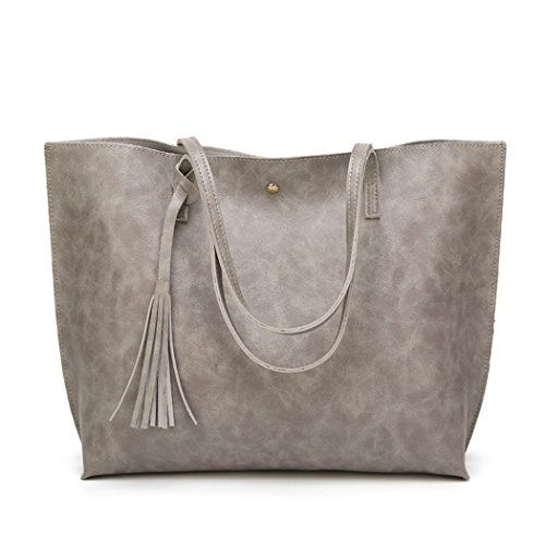 - Nodykka Women Tote Bags Top Handle Satchel Handbags PU Pebbled Leather Tassel Shoulder Purse