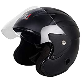 Gati1 Half Face Motorbike Helmet – (M-Size, Matt Black)