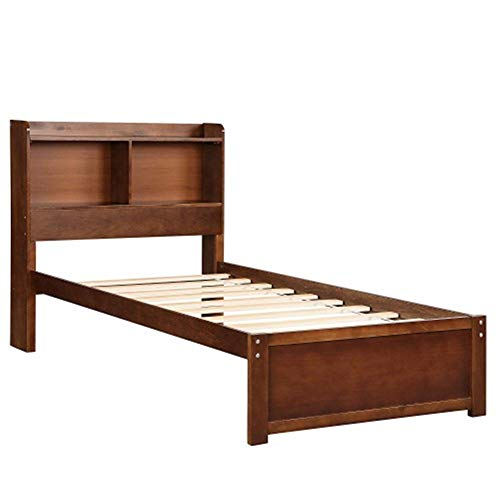(ZHIC Bookcase Platform Bed Twin Bed Frame Mattress Foundation with Storage Headboard Platform Storage Bed Bedroom Furniture,Warm Gift,3 Colors I Have a Better Life. (Color : Brown))